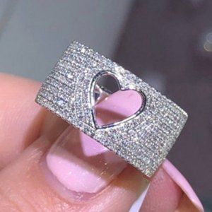 NEW  Hollow Heart Pave Diamond Silver Wide Ring